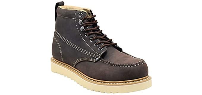 Golden Fox Men's Premium Leather - Lightweight Flat Soled Construction Work Boot