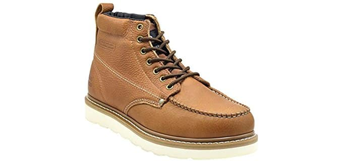 King Rocks Men's Moc Toe - Affordable Wedge Work Boots