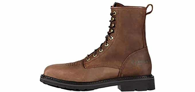 Ariat Men's Cascade Work Boots - High Profile Square Toe Lace Up Boots