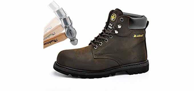 SAFETOE Men's Steel Toe Boots - Puncture Resistant Steel Toe Work Boots