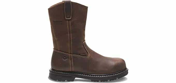 Wolverine Men's Nolan Boot - Leather Work Pull-Ons for High Arched Feet