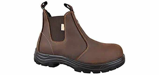 Tiger Safety Men's Lightweight - Steel Toe and Puncture Resistant Slip-On Work Boot