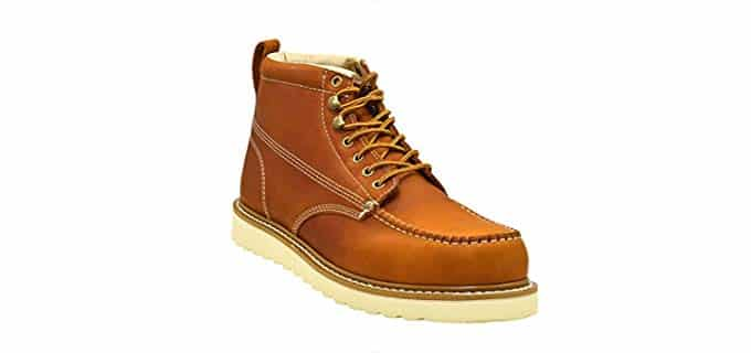 Golden Fox Men's Moc Leather Boots - Stylish Moc Leather Work Boots