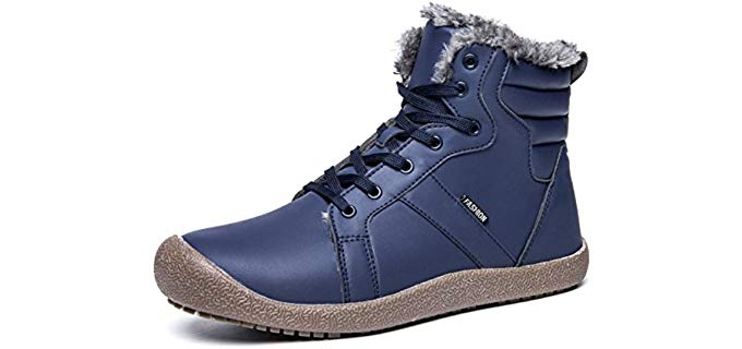 YIRUIYA Men's Waterproof - Fully Fur Lining Boots Winter Snow Shoes