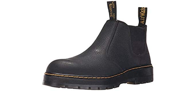 Dr. Martens Men's Rivet Steel Toe Chelsea - Slip On Steel Toe Work Boot