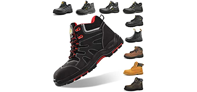 SAFEYEAR Men's SAFETOE Composite Toe Work Boots for Men - Industrial And Construction Work Shoes
