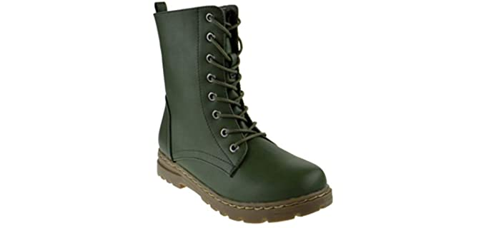 Nature Breeze Women's Gwen 01 - Military Lace Up Combat Boot